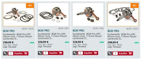 bgm Lambretta Kurbelwellen lieferbar