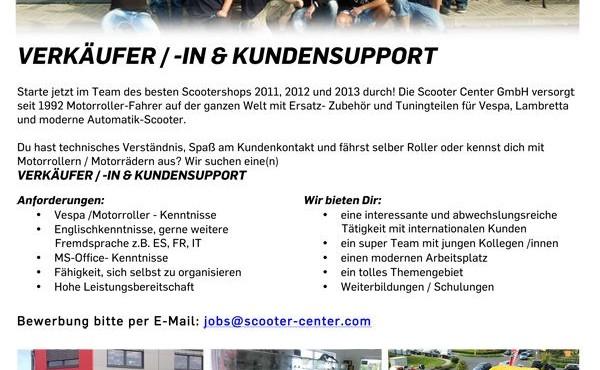 Wir suchen VERKÄUFER / -IN & KUNDENSUPPORT