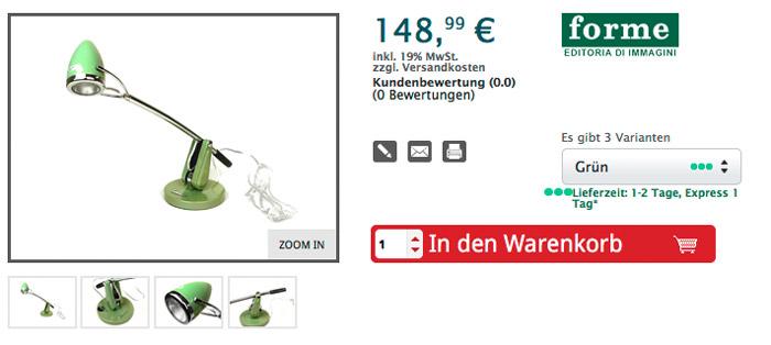 Schreibtischlampe -VESPA klein 47x17x57cm- Grün