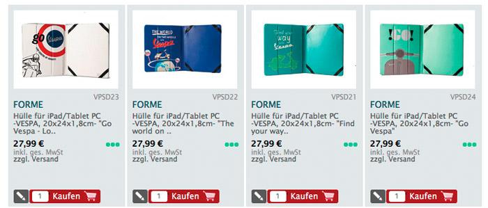 """Hülle für iPad/Tablet PC -VESPA, 20x24x1,8cm- """"Find your way with Vespa"""""""