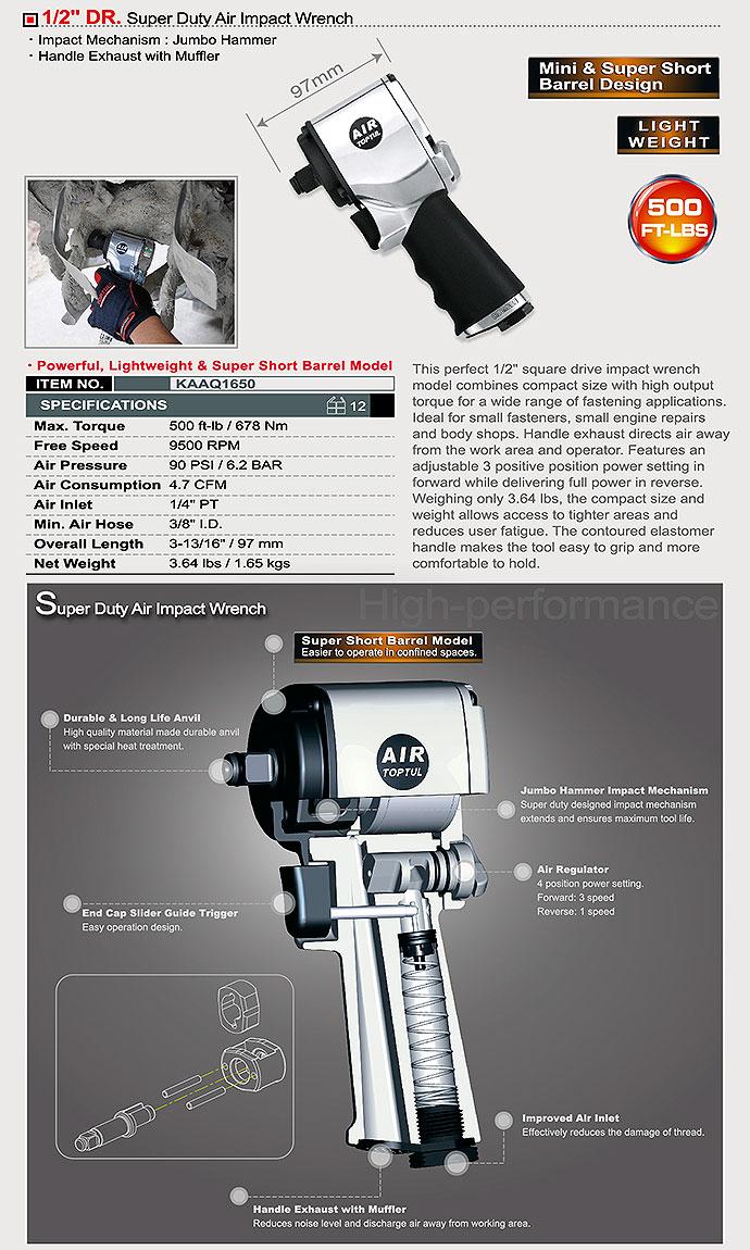 "Schlagschrauber (Druckluft) -TOPTUL 1/2"" 678 Nm- Artikelnr. KAAQ1650"