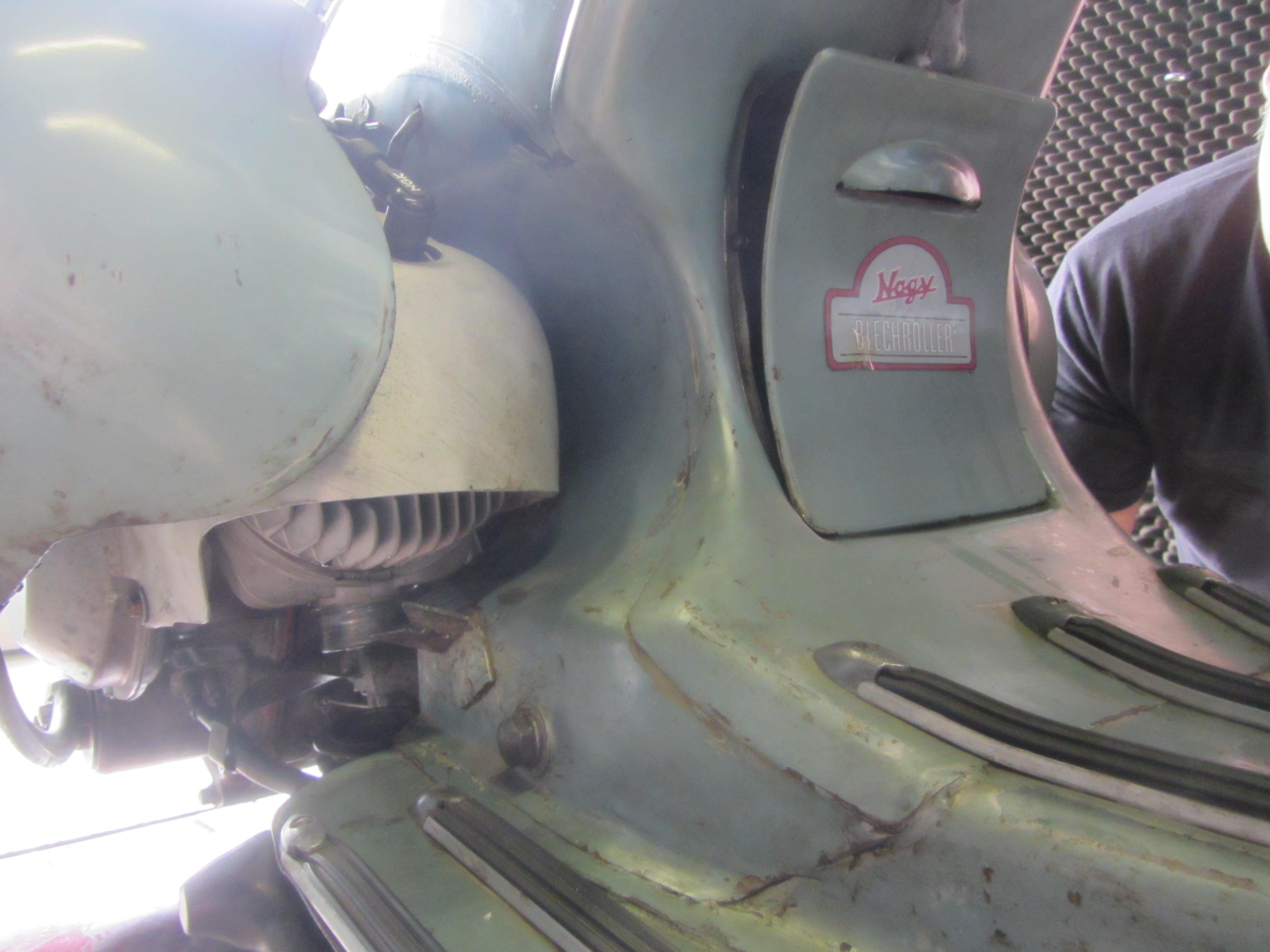 Cilindro 160cc V2 de Pinasco para Vespa Wideframe en el puesto de prueba de potencia del Scooter Center