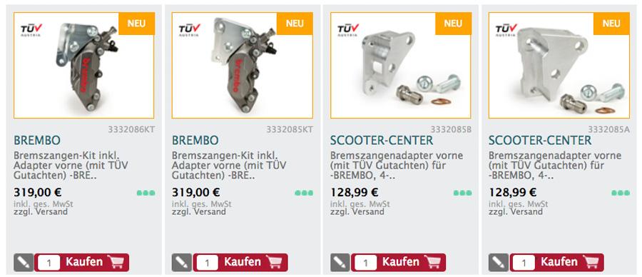 Bremszangen-Kit inkl. Adapter vorne (mit TÜV Gutachten) -BREMBO, 4-Kolben