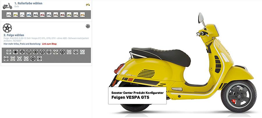 Vespa GTS Felgen Konfigurator