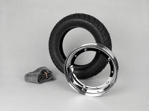Reifen komplett Set -VESPA HEIDENAU K58- 3.50 - 10 Zoll TL 59M (reinforced) - Felge 2.10-10 chrom Artikelnr. 7671776
