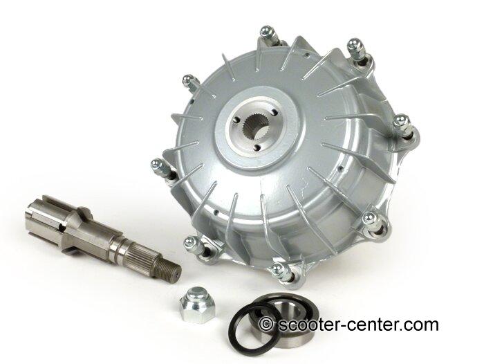 Bremstrommel hinten inkl. Hauptwelle und Lager -CASA PERFORMANCE Octopus Multispline- Lambretta LI (Serie 3), LIS, SX, TV (Serie 3), DL, GP - silber lackiert Artikelnr. 3332379
