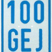 blaues Versicherungskennzeichen 2018 für Roller, Moped und Mofa