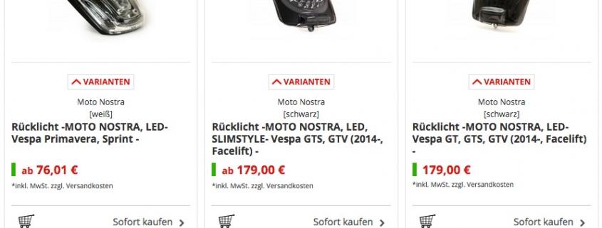 Vespa GTS Rücklichter LED