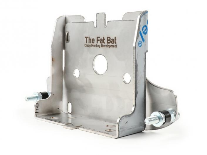 Reserveradhalter - Batteriehalter -CMD Fat Bat- Vespa PX, Edelstahl Crazy Monkey Development Artikel-Nr.: CMDFB0010