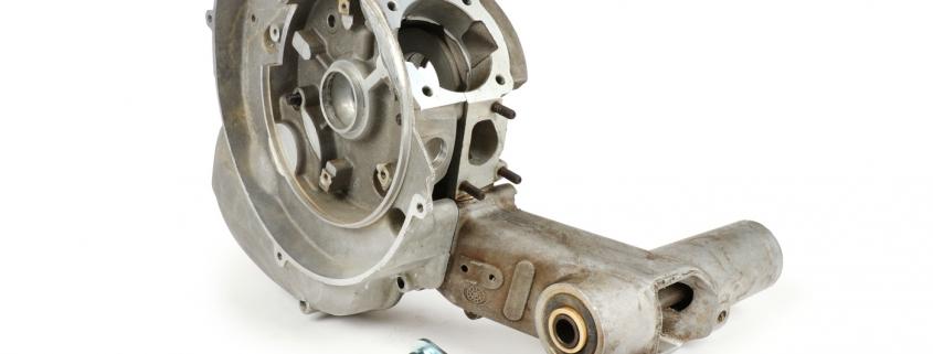 Motorgehäuse inkl. Schaltzugadapter (von KR Automation) -LML SF125- verwendbar für V50, V90, PV125, ET3, PK S, PK XL, Motovespa PK75 (Ansaugstutzen 3-Loch, Schaltung zwei Züge)