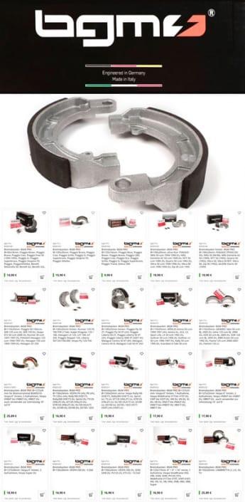 BGM PRO Bremsbacken für viele Rollermodelle erhältlich