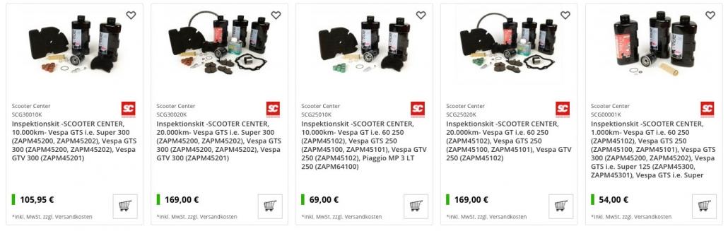 Vespa GTS Inspektion Set