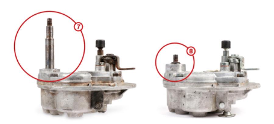 (7) Variatorgetriebe (8) Monogetriebe für Riemenscheibe