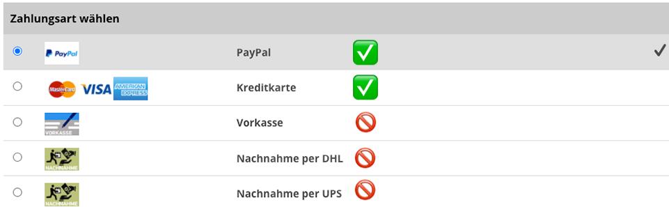 Zahlungsarten CLICK & COLLECT
