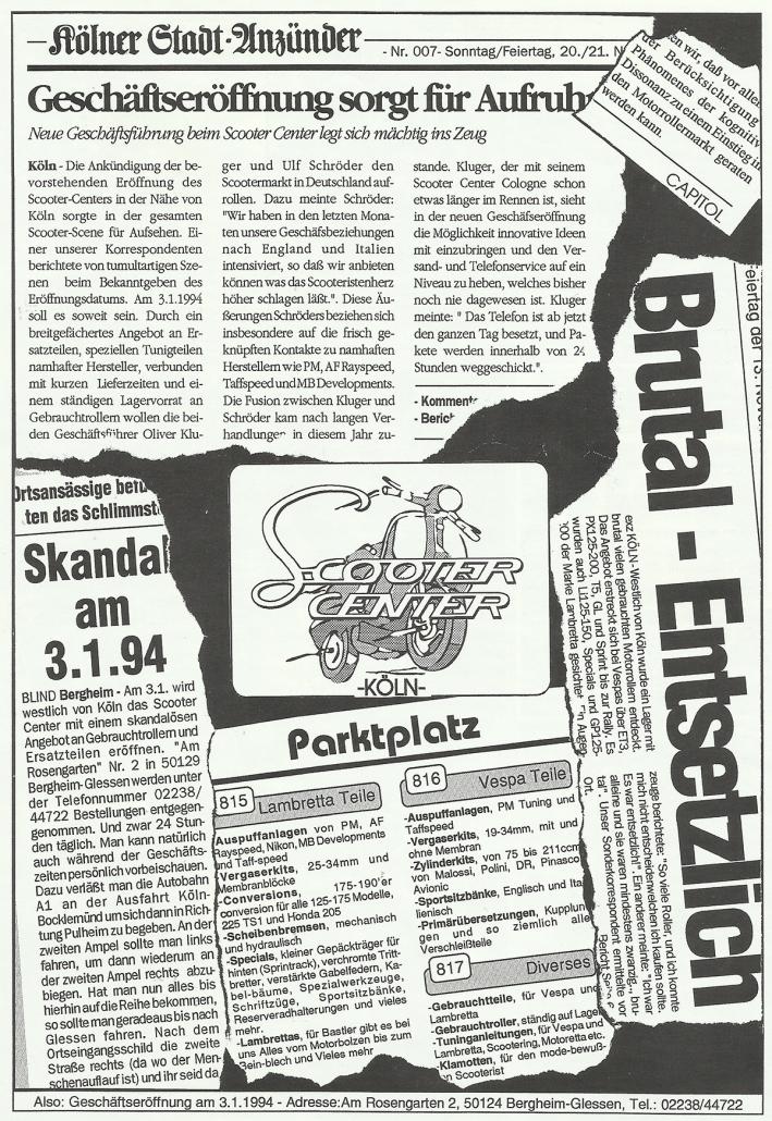 3.1.1994 Anzeige Motoretta Scooter Center Geschäftseröffnung