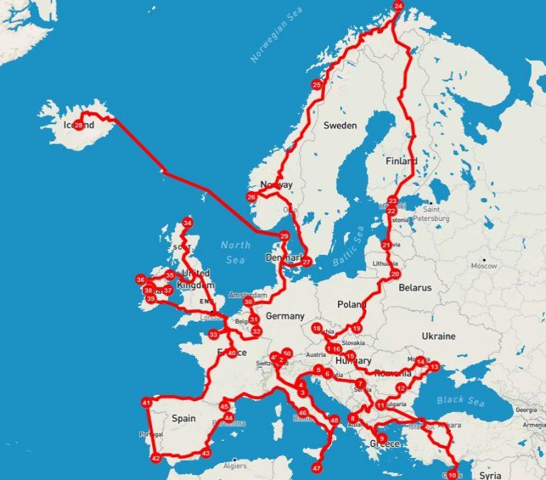 Vespa Gentleman Giro Europa Route