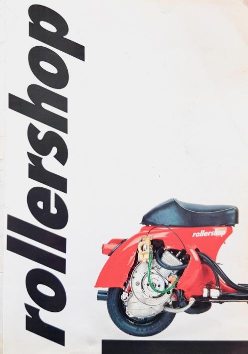 ROLLERSHOP Vespa catalogue 1987 avec moteur Vespa Primavera 125 rouge et Zirri avec refroidissement par eau