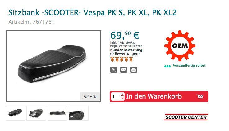 vespa sitzbank scooter vespa PK