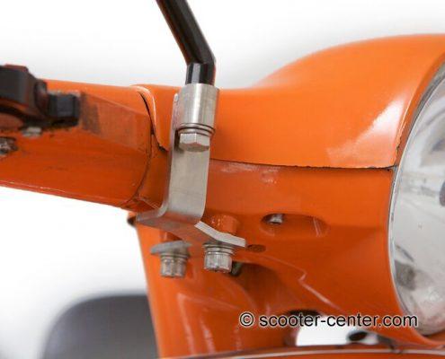 """Spiegelhalter """"MiMo Race"""" von CMD aus Edelstahl für alle Vespa PK S, PK XL und PX* Modelle. Wird an den originalen Befestigungspunkten (M8 Innengewinde) im Lenkerunterteil befestigt."""